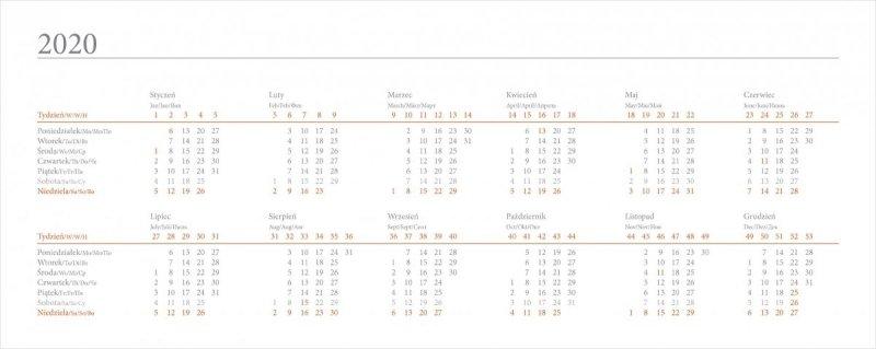 Kalendarz biurkowy EXCLUSIVE na rok szkolny 2019/2020 - skrócone kalendarium roku 2020