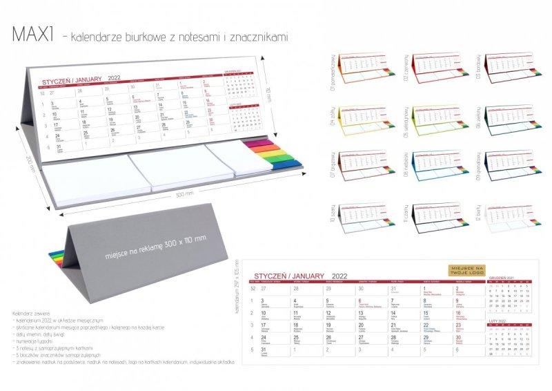 Kalendarz biurkowy z notesami i znacznikami na rok 2022 MAXI strona z katalogu