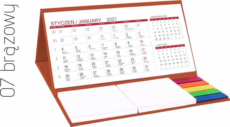 Kalendarz biurkowy z notesami i znacznikami MIDI 3-miesięczny 2021 brązowy