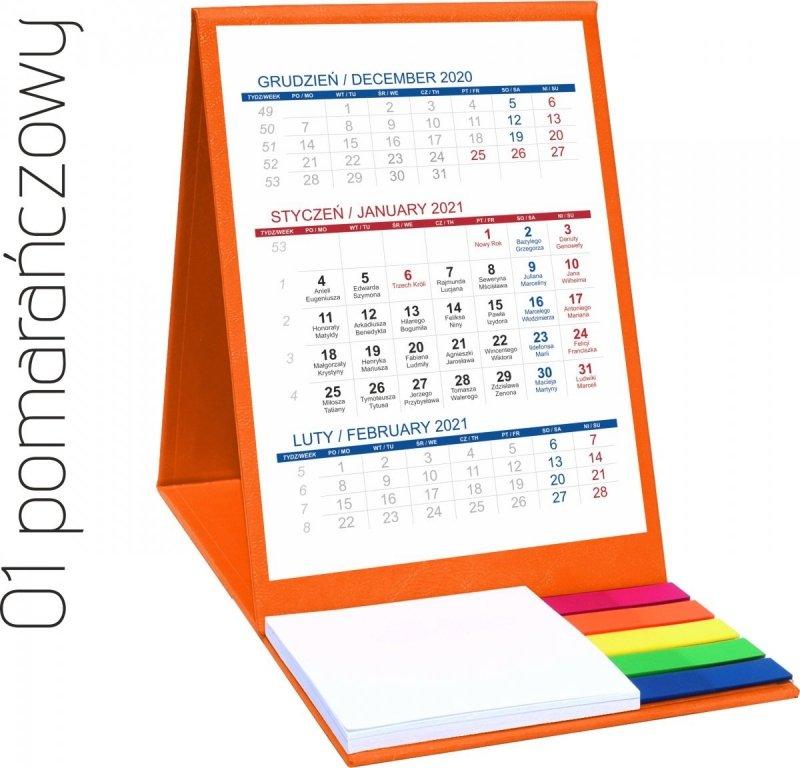 Kalendarz biurkowy z notesem i znacznikami TOP 3-miesięczny 2021 pomarańczowy
