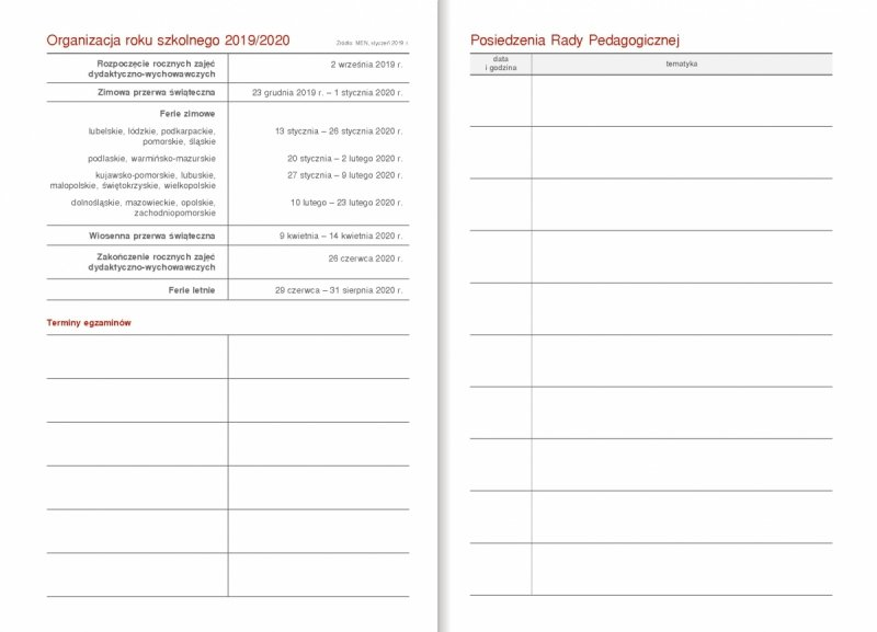 Kalendarz nauczyciela - tabele Organizacja roku szkolnego 2019/2020, Terminy egzaminów, Posiedzenia Rady Pedagogicznej