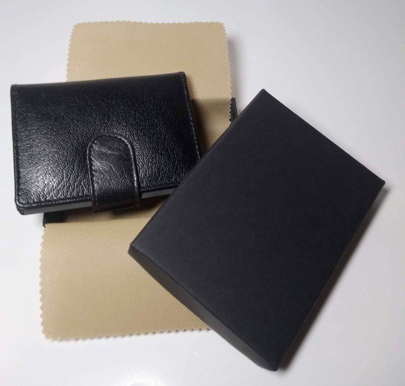 Etui na wizytówki i karty czarny zapięcie na zatrzask + pudełko ozdobne