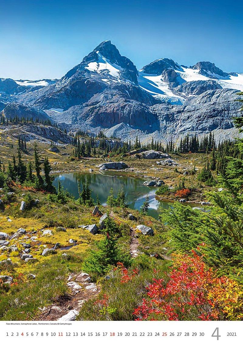 Kalendarz ścienny wieloplanszowy Mountains 2021 - kwiecień 2021