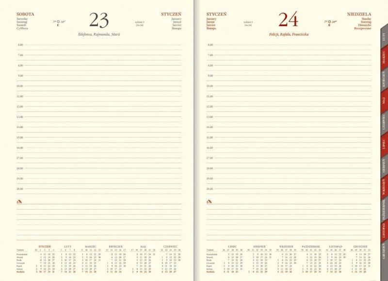 Kalendarz z każdym dniem na osobnej stronie i planerem przed każdym miesiącem