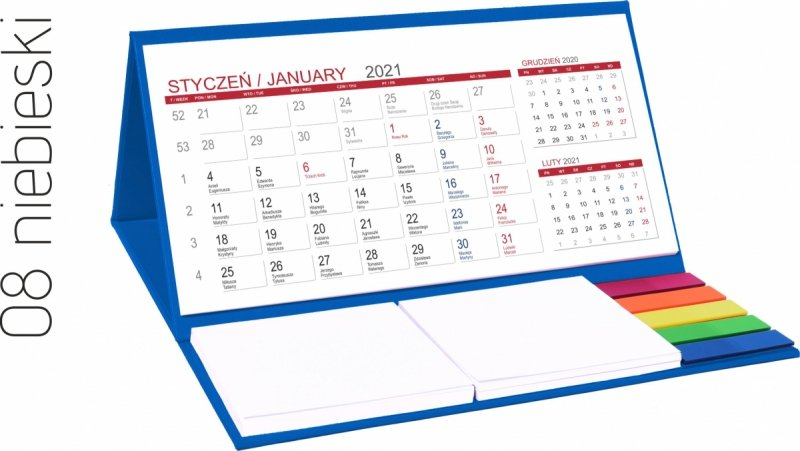 Kalendarz biurkowy z notesami i znacznikami MIDI 3-miesięczny 2021 niebieski