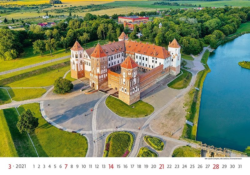 Kalendarz ścienny wieloplanszowy World Heritage 2021 - marzec 2021