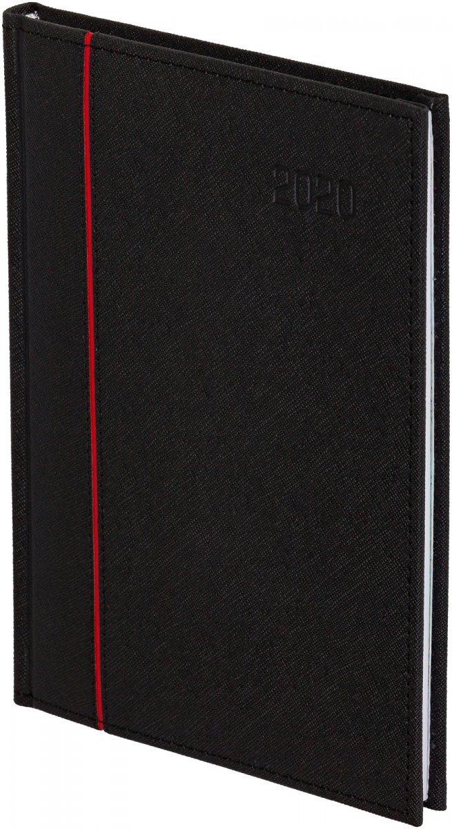 Kalendarz książkowy A5 tygodniowy oprawa 2020 HAGA - oprawa przeszywana - kolor czarny
