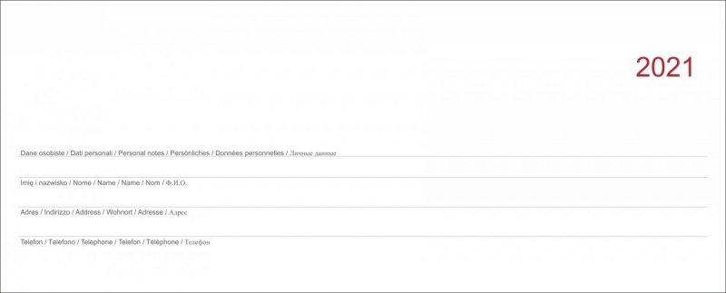 Strona tytułowa do kalendarza biurkowego z piórnikiem