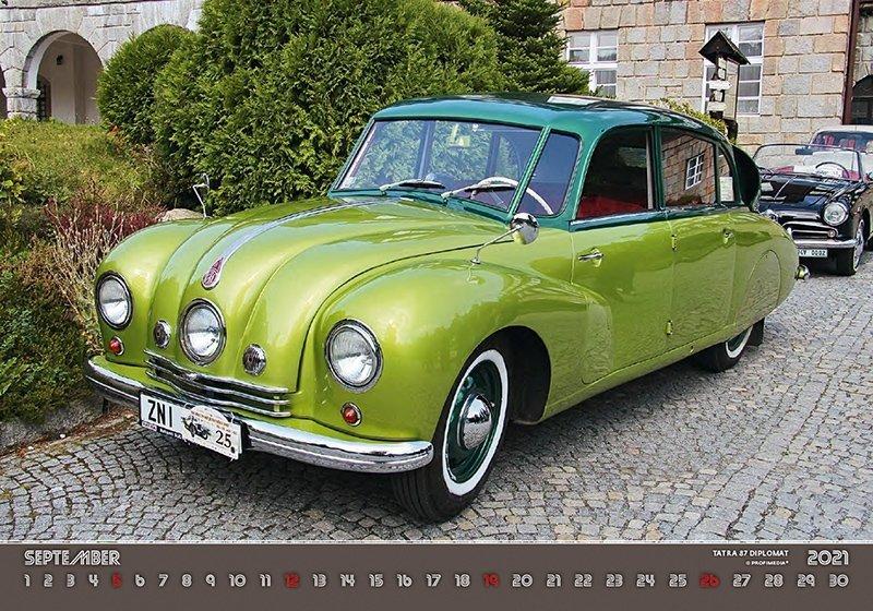Kalendarz ścienny wieloplanszowy Retro Cars 2021 - wrzesień 2021
