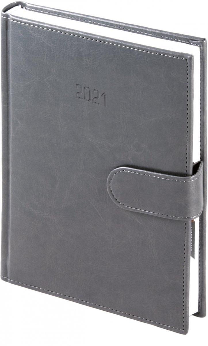 Kalendarz książkowy 2021 B5 dzienny oprawa MAGNESIAN - szary oprawa skóropodobna zamykana na magnes