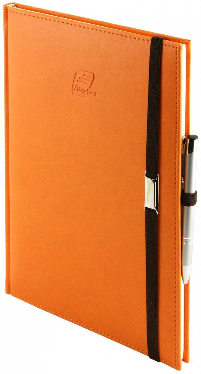 Notes A4 z długopisem zamykany na gumkę z blaszką  oprawa Vivella pomarańczowa - okładka