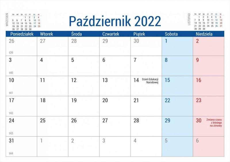 Kalendarz na biurko stojący PLANO na rok 2022 - październik