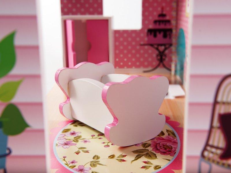 Domek-drewniany-dla-lalek-Różowa-Willa-70cm-LED-6