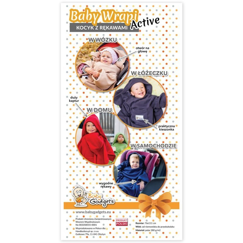Baby Wrapi Active - Kocyk z rękawami - Czerwony