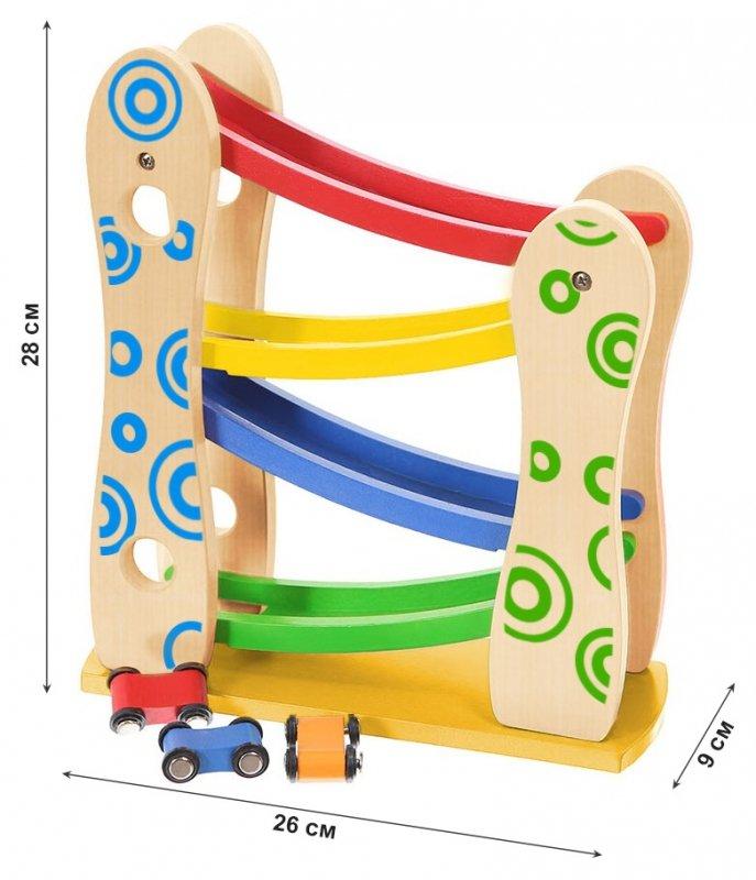 Drewniany tor zjeżdżalnia + 3 autka zabawki Ecotoys