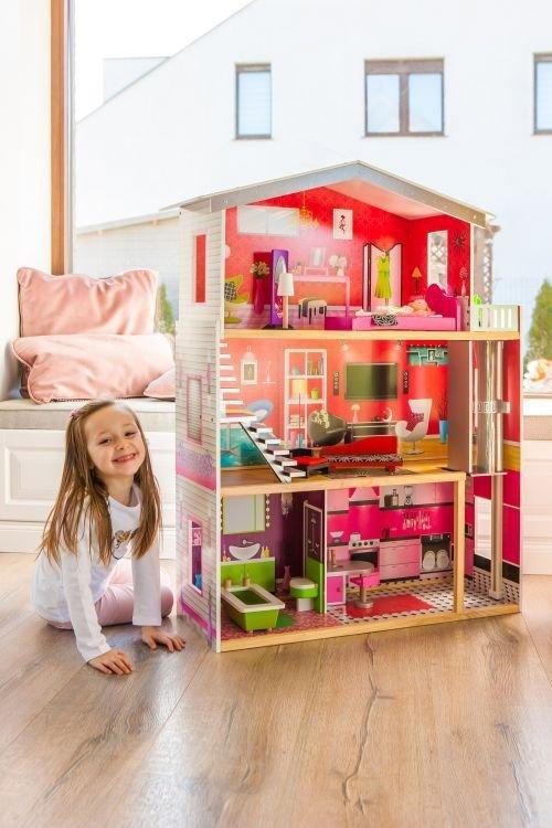 Duży drewniany domek z windą dla lalek - Rezydencja Malibu ECOTOYS