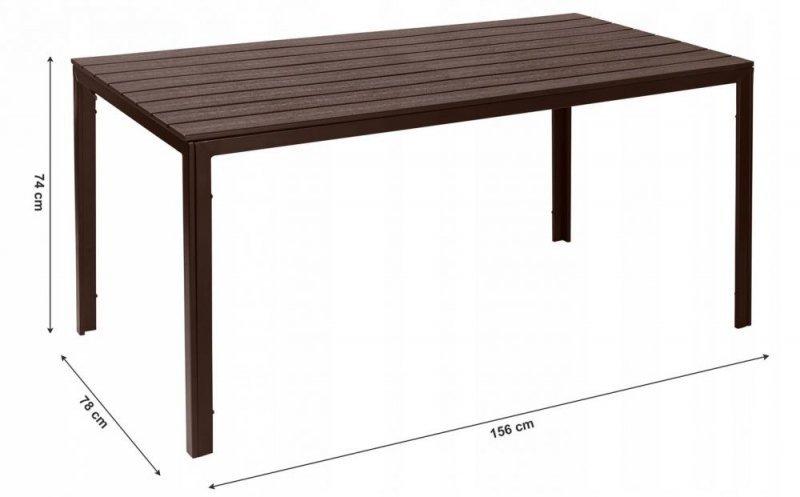 Stół ogrodowy cateringowy 156 x 78cm Brązowy