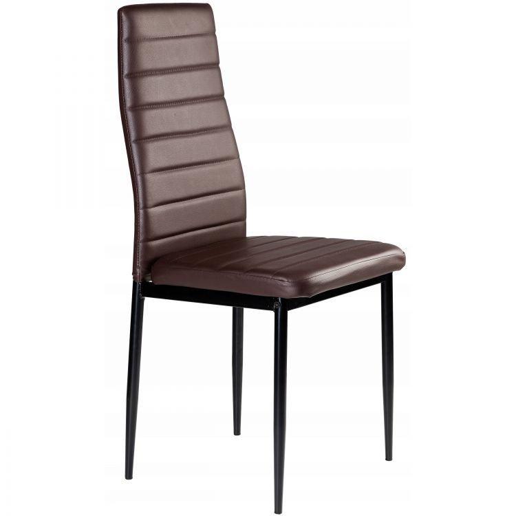Zestaw 4 krzeseł z eko skóry jasny brąz