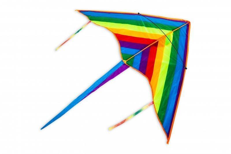 Latawiec duży dla dzieci trójkątny tęcza
