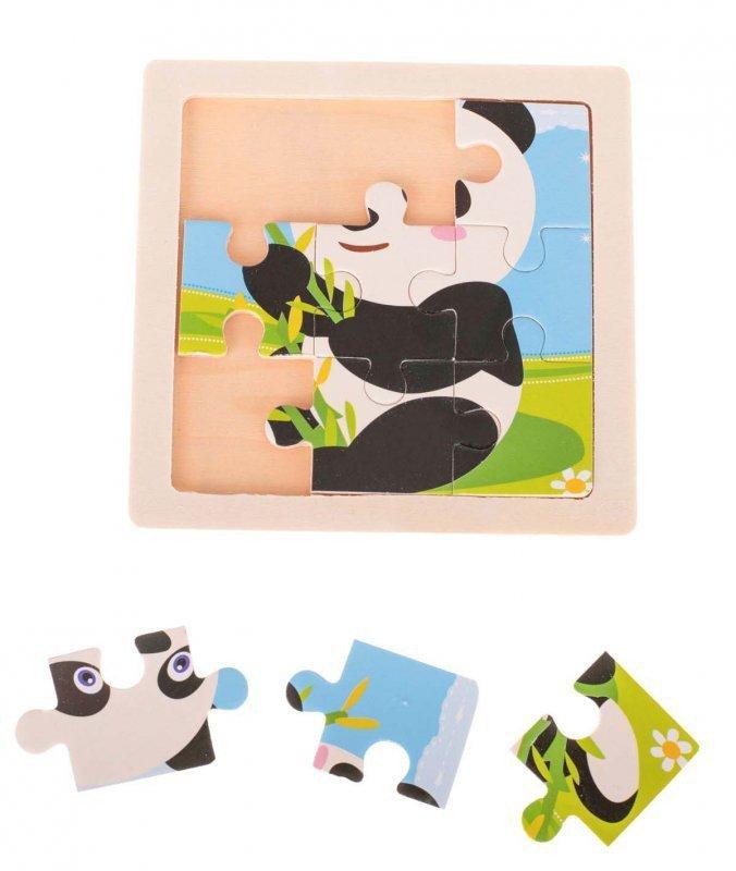 Puzzle drewniane układanka panda 9 el. 11x11 cm