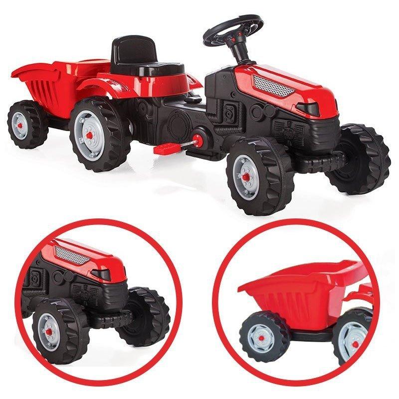 Traktor MAX na pedały z przyczepą Czerwony