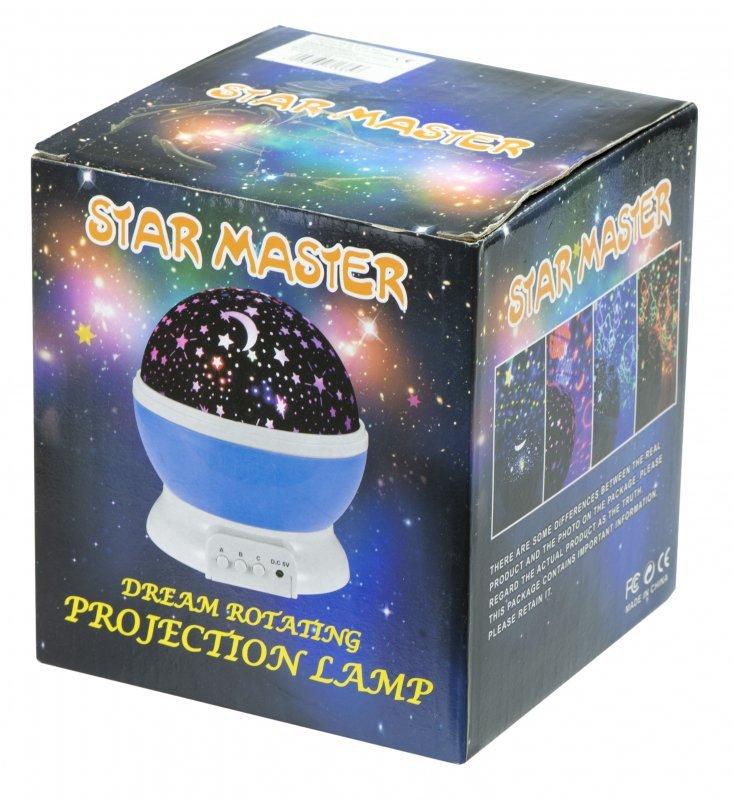 Lampka nocna projektor gwiazd 2w1 USB niebieska