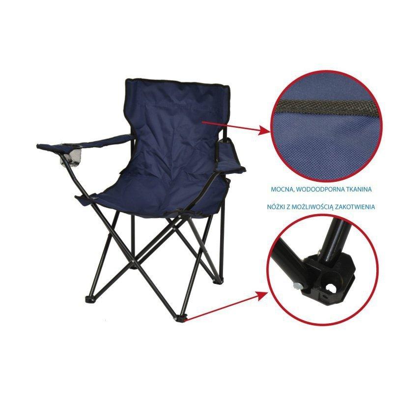 Krzesło turystyczne składane wędkarskie granatowe
