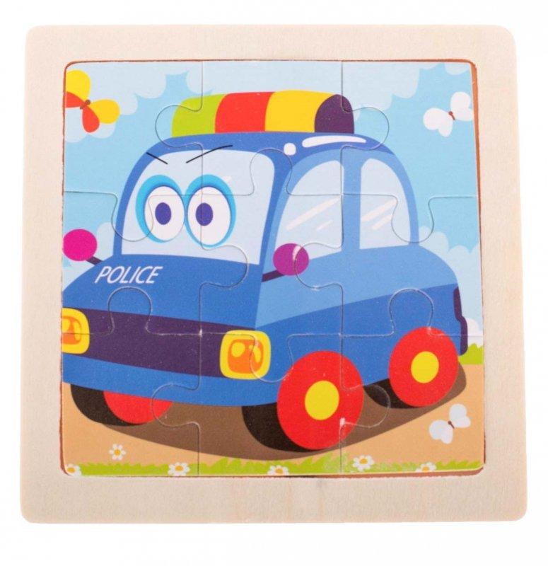 Puzzle drewniane układanka policja 9 el. 11x11 cm