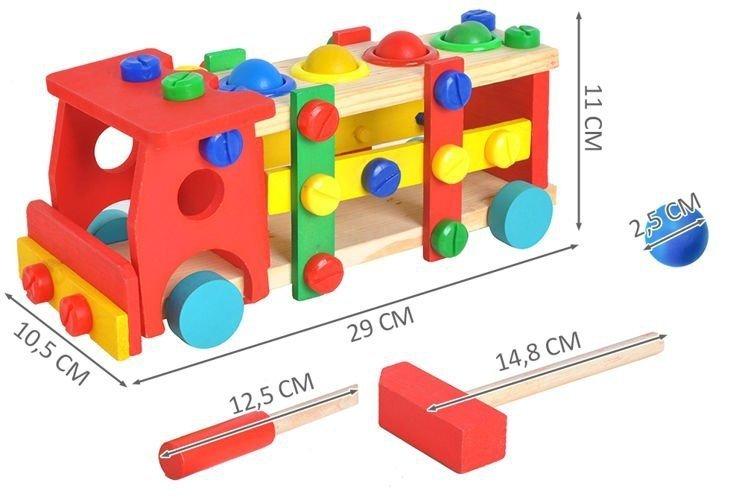 Drewniana ciężarówka + młotek śrubokręt klocki