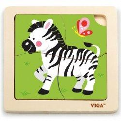 VIGA Poręczne Drewniane Puzzle Zebra