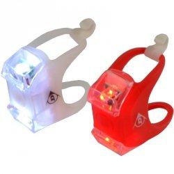 Zestaw silikonowych lamp rowerowych Led przód tył Dunlop Deluxe 2 LED-y