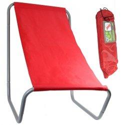 Leżak ogrodowo plażowy składany z torbą Royokamp czerwony