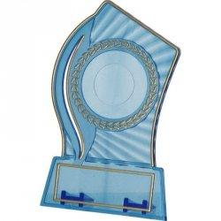 Trofeum Plastikowe - Przezroczysto - Złote Z Miejscem Na Wklejkę 25/40Mm I Tabliczkę 56Mmx18Mm T-M