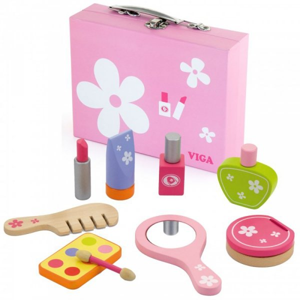 Drewniany Zestaw do Makijażu Toaletka Kosmetyczka Viga Toys