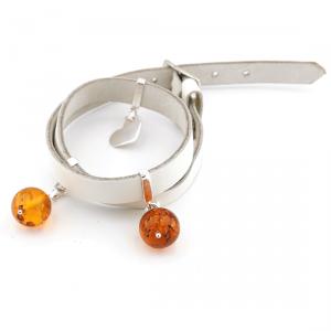 Braccialetto Cinturino in Pelle Bianca con Cuore e Pietre d'Ambra Arancione , Argento