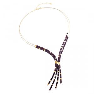 Collana Perline della Veggente Multifilo, Ambra, Viola Scuro, Placcato Oro
