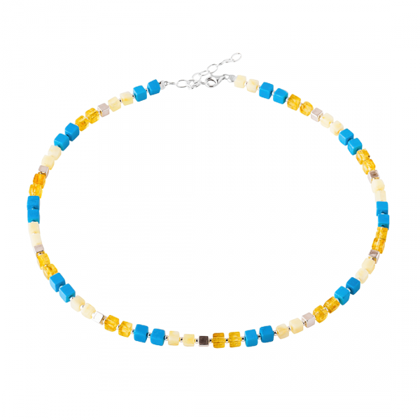 Collana perline Turchese d'estate, giallo, Argento