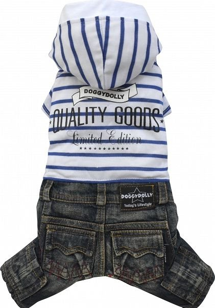 Dolly C243-L Komplet jeans kaptur biały 31-33cm