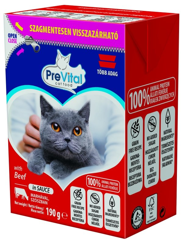 PreVital 1303 tetra pak/kot wołowina w sosie 190g
