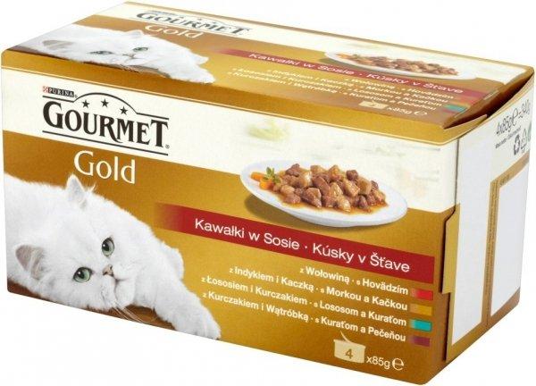 Gourmet Gold 4x85g kawałki w sosie kura, woł, kacz