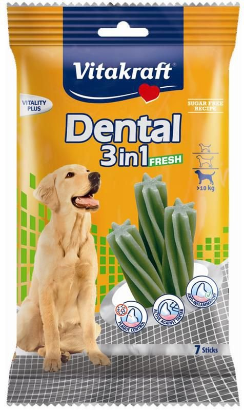 Vitakraft 8924 Dog Dental 3w1 fresh M 180g