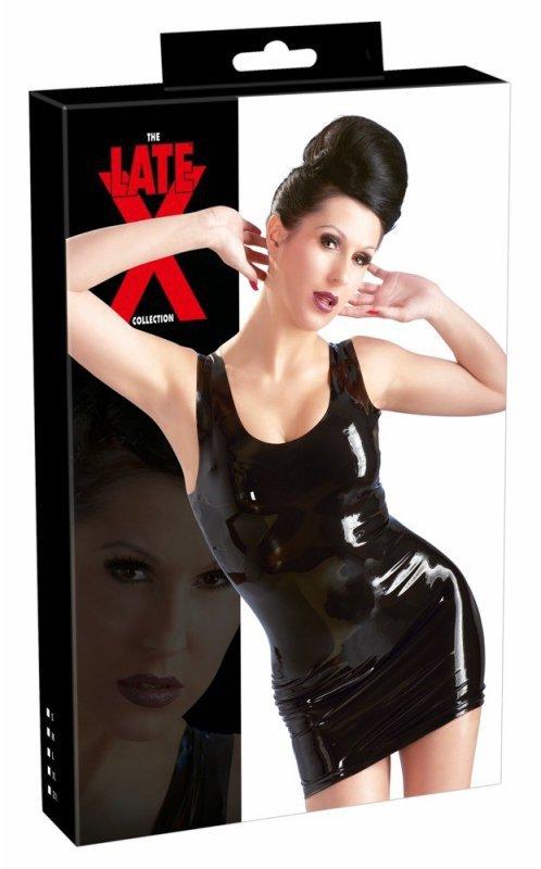Lateksowa mini sukienka czarna XXL
