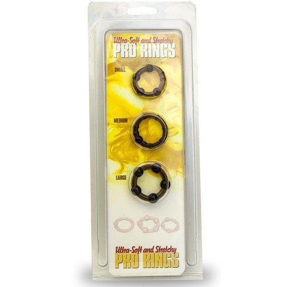Zestaw 3 szt ringów na penisa kolor: czarny