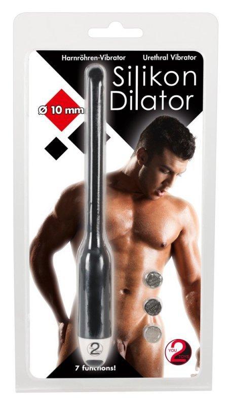 Silikonowy dilator z wibracjami czarny