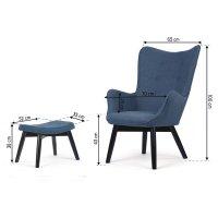Fotel uszak z podnóżkiem Sofotel Norse niebieski