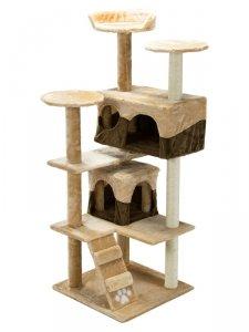 Drapak, domek dla kota 130cm Pethaus brązowo-beżowy DR-202