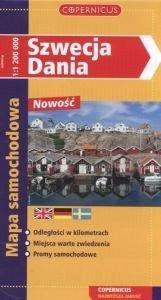 Szwecja Dania Mapa samochodowa Skala 1:1200000