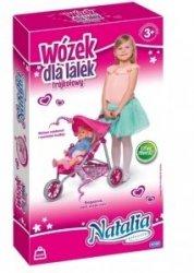 trójkołowy Wózek spacerowy dla Natalia+Lalka Gratis Różowa