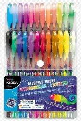 Długopisy Żelowe Fluorescencyjne z Brokatem Kidea 24 kolory