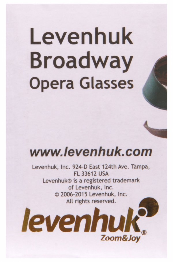 Lornetka teatralna Levenhuk Broadway 325F (czarna, z oświetleniem LED i łańcuszkiem)